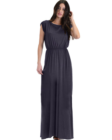 Timeless Charcoal Maxi Dress With Elastic Waist & Side Slit
