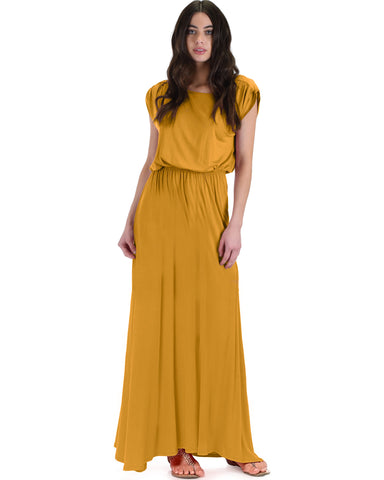 Timeless Mustard Maxi Dress With Elastic Waist & Side Slit