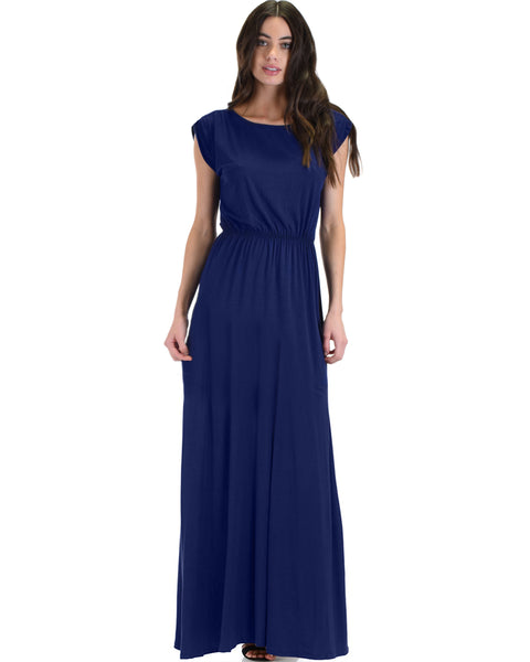 Timeless Navy Maxi Dress With Elastic Waist & Side Slit