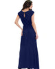 Timeless Navy Maxi Dress With Elastic Waist & Side Slit - Lyss Loo
