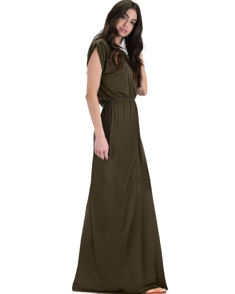 Timeless Olive Maxi Dress With Elastic Waist & Side Slit