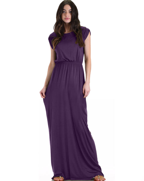 Timeless Purple Maxi Dress With Elastic Waist & Side Slit