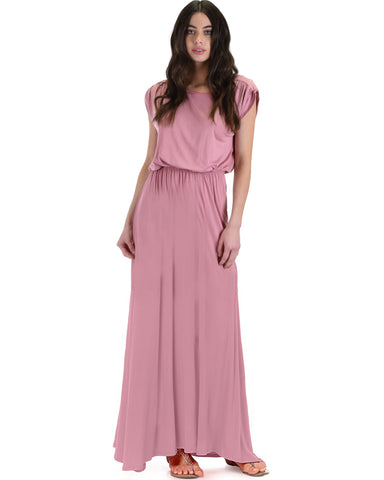 Timeless Rose Maxi Dress With Elastic Waist & Side Slit