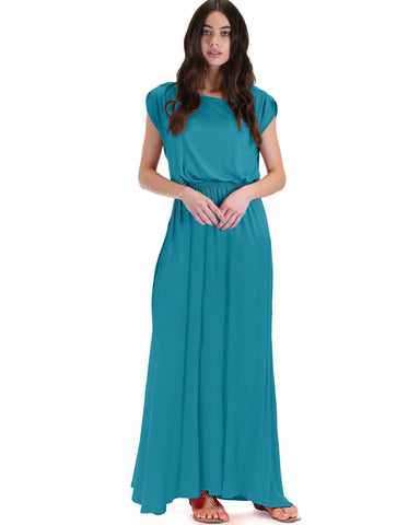 Timeless Teal Maxi Dress With Elastic Waist & Side Slit