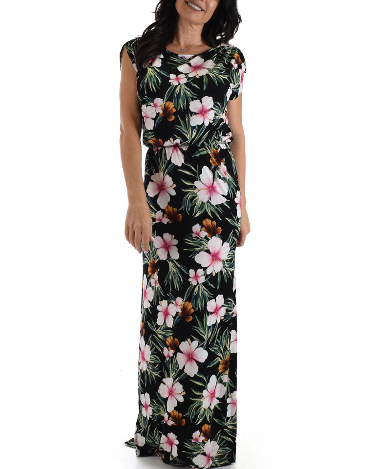 Lyss Loo Black Tropical Timeless Maxi Dress. Available In Plus Sizes.