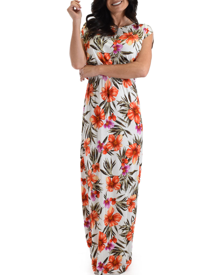 Lyss Loo Coral Tropical Timeless Maxi Dress. Available In Plus Sizes.