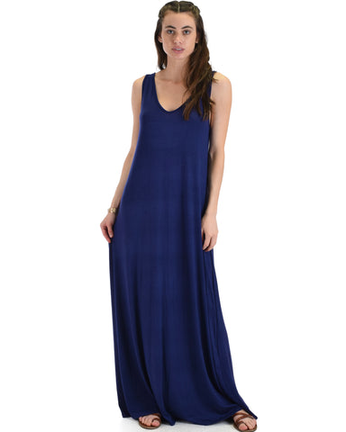 Lyss Loo Lost In Paradise Sleeveless Deep V-Neck Navy Shift Maxi Dress