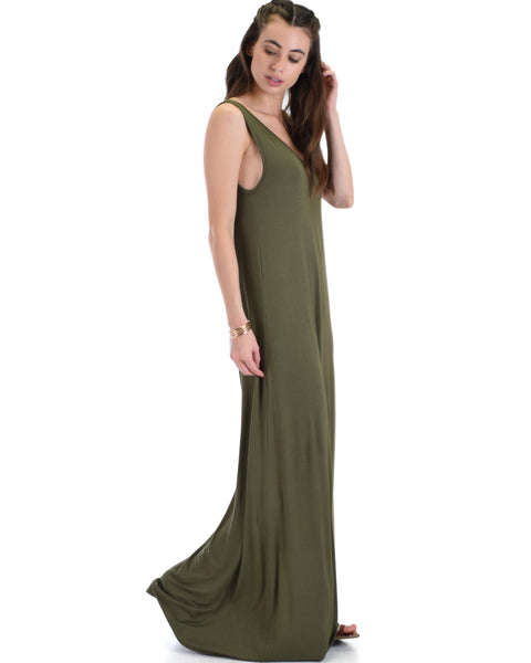 Lyss Loo Lost In Paradise Sleeveless Deep V-Neck Olive Shift Maxi Dress
