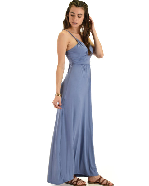 Lyss Loo Wanderlust Sweetheart Blue Shift Maxi Dress