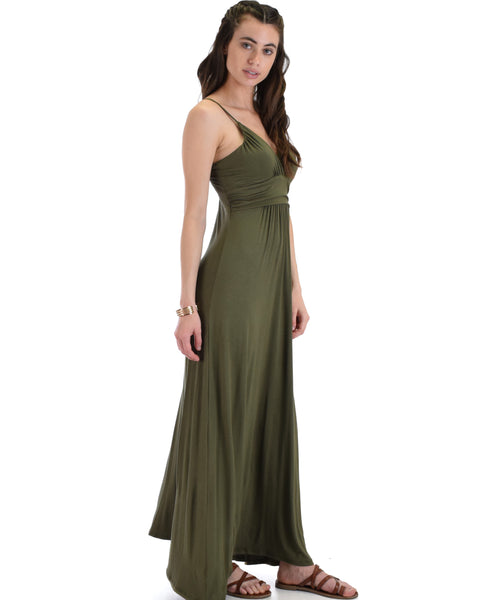 Lyss Loo Wanderlust Sweetheart Olive Shift Maxi Dress