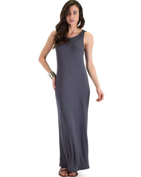 Lyss Loo Charcoal Ascension Contemporary Hooded Maxi Dress