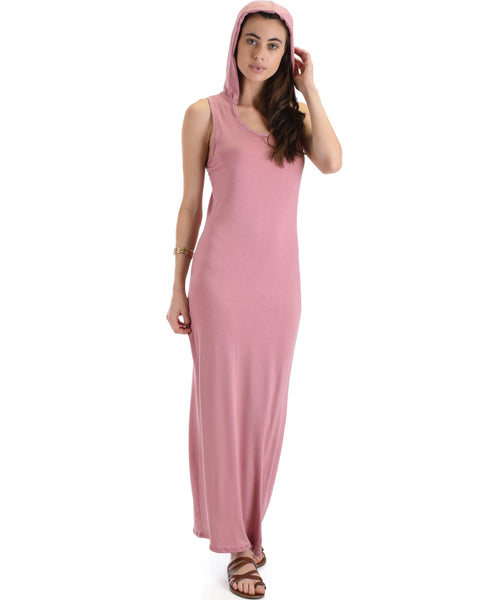 Lyss Loo Mauve Ascension Contemporary Hooded Maxi Dress