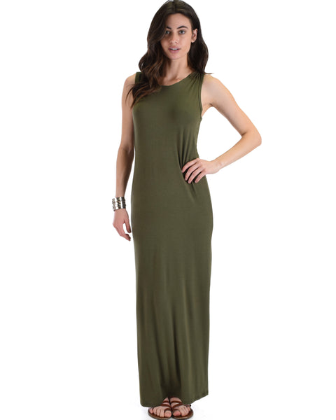 Lyss Loo Olive Ascension Contemporary Hooded Maxi Dress