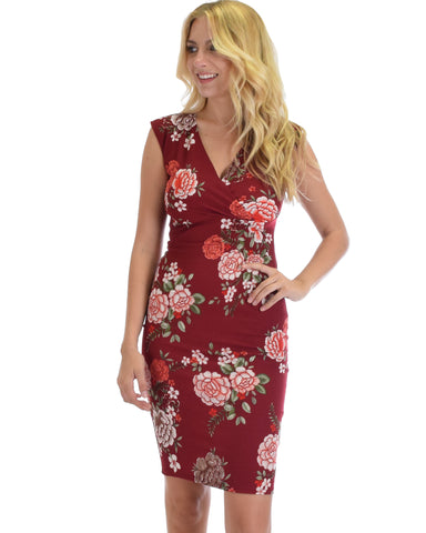 Lyss Loo Steal A Kiss Burgundy Floral V-neck Bodycon Midi Dress
