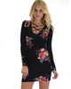 Heart's Content Long Sleeve Cross Straps Black Floral Print Bodycon Dress - Lyss Loo