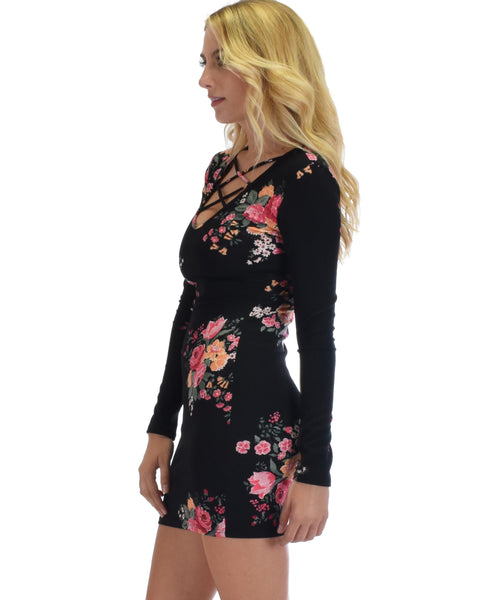 Heart's Content Long Sleeve Cross Straps Black Floral Print Bodycon Dress