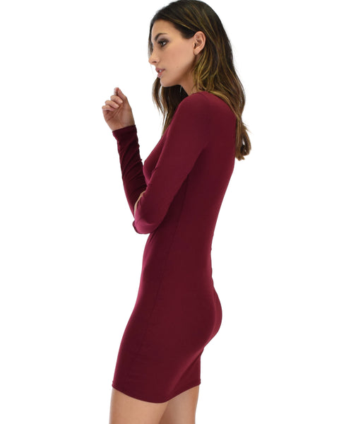 Heart's Content Long Sleeve Cross Straps Burgundy Bodycon Dress