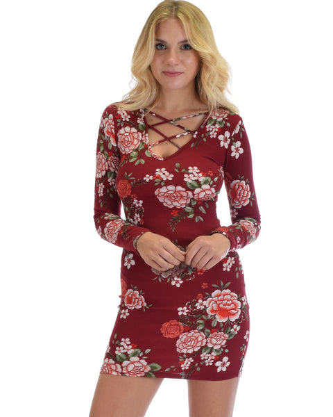 Heart's Content Long Sleeve Cross Straps Burgundy Floral Print Bodycon Dress