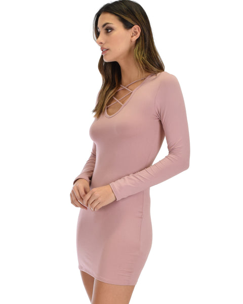 Heart's Content Long Sleeve Cross Straps Mauve Bodycon Dress