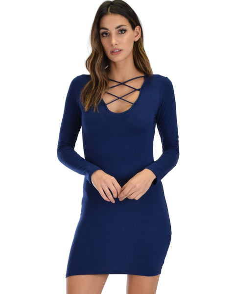 Heart's Content Long Sleeve Cross Straps Navy Bodycon Dress