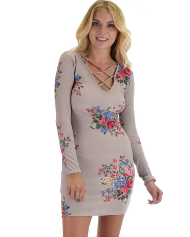 Heart's Content Long Sleeve Cross Straps Taupe Floral Print Bodycon Dress