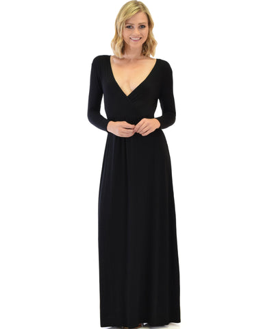 Sweetest Kiss Long Sleeve Black Maxi Dress