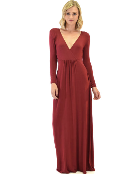 Sweetest Kiss Long Sleeve Burgundy Maxi Dress