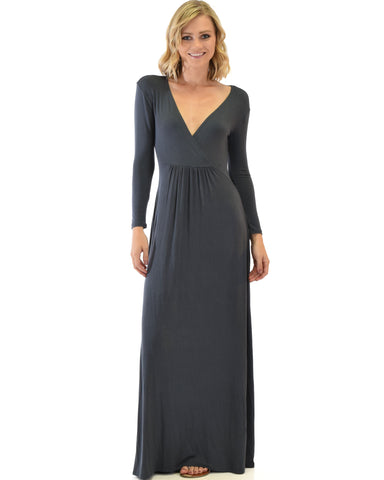 Sweetest Kiss Long Sleeve Charcoal Maxi Dress