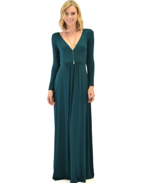 Sweetest Kiss Long Sleeve Green Maxi Dress