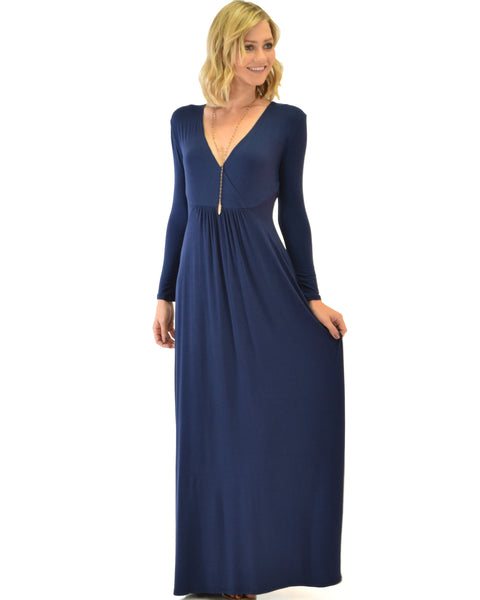 Sweetest Kiss Long Sleeve Navy Maxi Dress