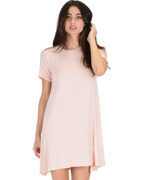 Reporting For Cutie Pink T-Shirt Tunic Dress