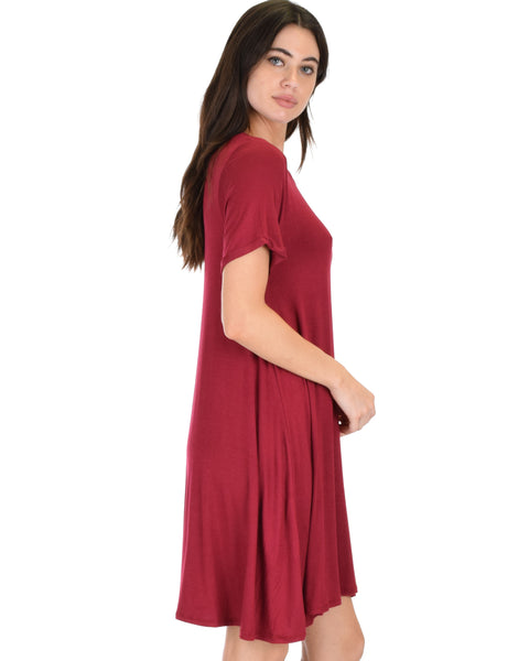 Reporting For Cutie Burgundy T-Shirt Tunic Dress