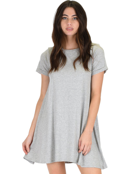 Reporting For Cutie Grey T-Shirt Tunic Dress