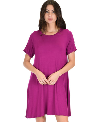 Reporting For Cutie Magenta T-Shirt Tunic Dress