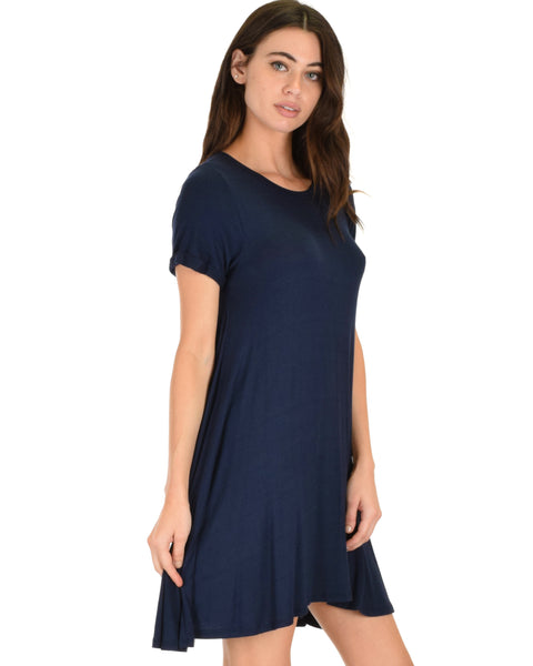 Reporting For Cutie Navy T-Shirt Tunic Dress