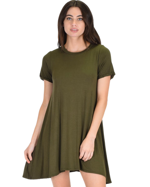 Reporting For Cutie Olive T-Shirt Tunic Dress