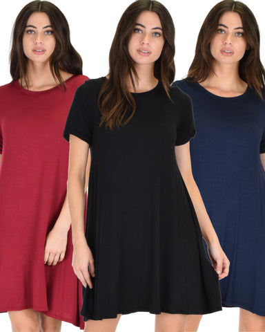 3 Pack Reporting For Cutie T-Shirt Tunic Dress