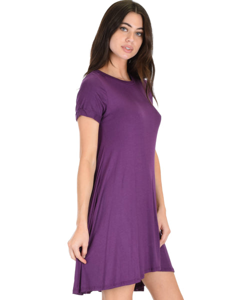 Reporting For Cutie Purple T-Shirt Tunic Dress