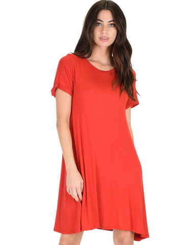 Reporting For Cutie Rust T-Shirt Tunic Dress