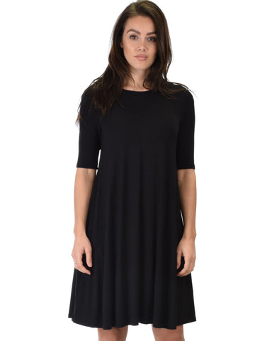 Reporting For Cutie 3/4 Sleeve Black T-Shirt Tunic Dress