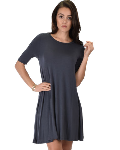 Reporting For Cutie 3/4 Sleeve Charcoal T-Shirt Tunic Dress