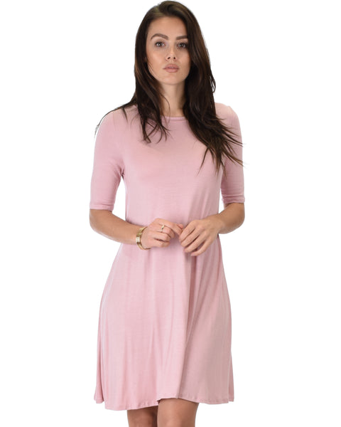 Reporting For Cutie 3/4 Sleeve Mauve T-Shirt Tunic Dress