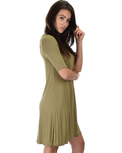 Reporting For Cutie 3/4 Sleeve Olive T-Shirt Tunic Dress
