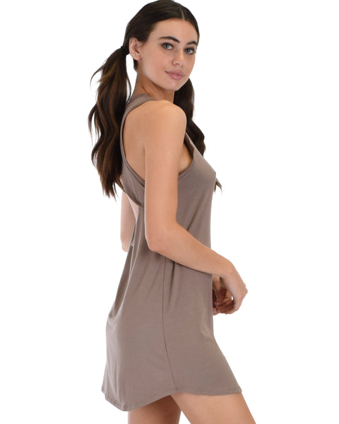 All Yours Open Back Taupe Sleep Shirt