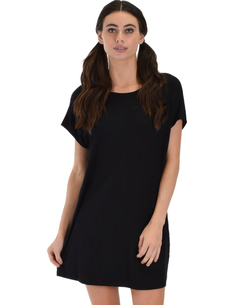 Dream Delight Cross Back Black Sleep Shirt