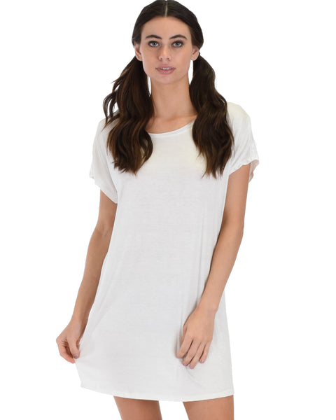Dream Delight Cross Back Ivory Sleep Shirt