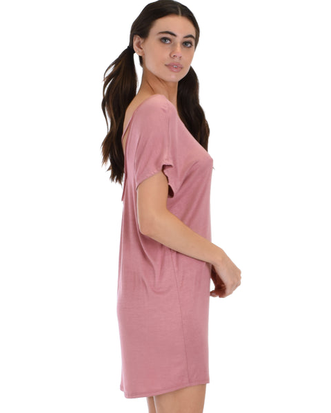 Dream Delight Cross Back Mauve Sleep Shirt