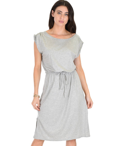 My Everyday Tie Waist Grey Midi Dress
