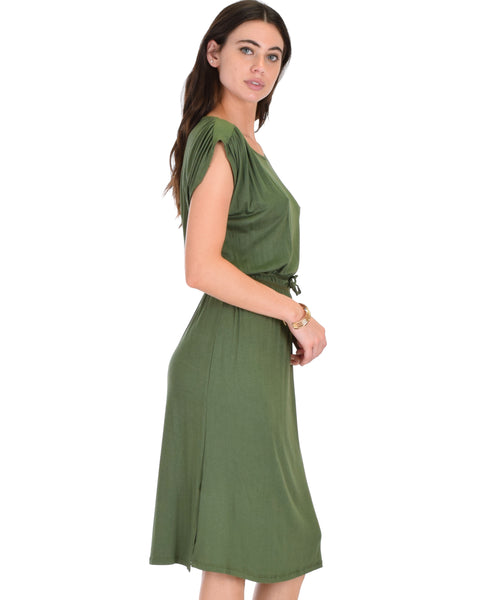 My Everyday Tie Waist Olive Midi Dress