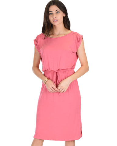 My Everyday Tie Waist Pink Midi Dress